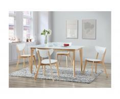 Tavolo da pranzo allungabile 6 a 8 posti Hevea massello e MDF Bianco - CARINE