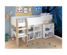 Letto combinato con scrivania e scomparti 90 x 200 cm Bianco e Rovere - MARIA