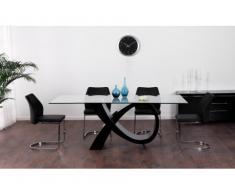Tavolo da pranzo ETREINTE - 8 coperti - MDF e vetro temperato - Nero