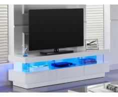 Mobile TV FABIO - MDF laccato bianco - LED - 3 cassetti e 3 nicchie