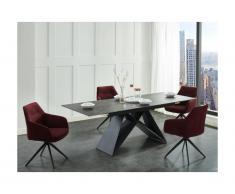 Tavolo da pranzo allungabile da 6 a 8 coperti in Ceramica e Metallo Nero - LIBSY