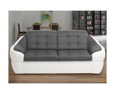Divano 2 posti in tessuto e similpelle Bicolore grigio e bianco - FAREZ