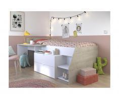 Letto singolo con scrivania integrata e vani portaoggetti inclusi 90 x 200 cm Bianco e grigio - GISELE