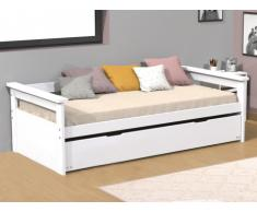Letto divano con letto estraibile 90 x 190 cm abete Bianco - ALFONSO