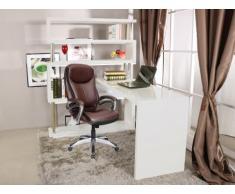 Scrivania JESSY con scaffali integrati - MDF laccato bianco