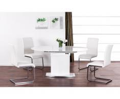 Tavolo allungabile ORNELA - 6 coperti - MDF e cromo - Bianco