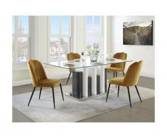 Tavolo da pranzo 6 coperti Vetro temperato e Acciaio Bianco e Grigio - BELEM
