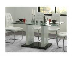 Tavolo da pranzo 6 posti in in vetro temperato e MDF laccato bianco - SAMIRA