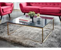 Tavolino quadrato design in Marmo e metallo Nero e dorato - ARETHA