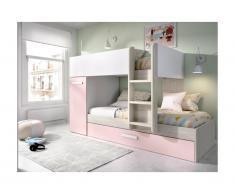 Letto a castello con cassetto letto a scomparsa e contenitori 3 x 90 x 190 cm Bianco, Rovere e Rosa - ANTHONY