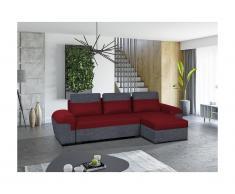 Divano-letto angolare reversibile in tessuto GABY - Bicolore rosso e antracite