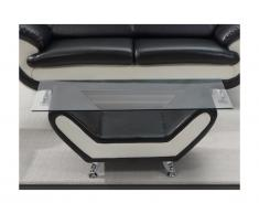 Tavolino in similpelle Nero e avorio - INDICE