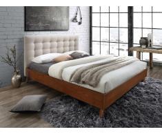 Letto FRANCESCO - 140x190 cm - Tessuto beige e legno
