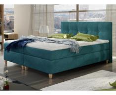 Set letto boxspring con testata + reti + materasso + topper POUPOUPIDOU di PALACIO - tessuto blu e foglia di tè - 2x80x200 cm