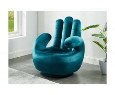 Poltrona a forma di mano girevole in velluto Blu petrolio - CATCHY