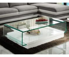 Tavolino GLOSS con ripiano in vetro temperato - Bianco