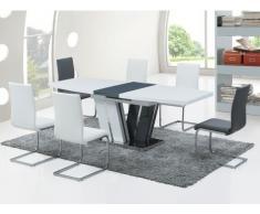 Tavolo allungabile NAOMI - MDF laccato grigio e bianco