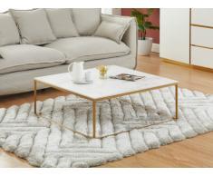 Tavolino di design in Ceramica e Metallo Bianco e Dorato - ARETHA