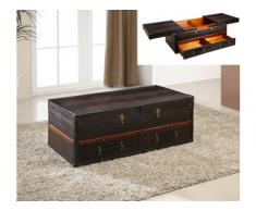 Baule tavolino LORIC - Similpelle marrone effetoto coccodrillo