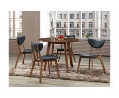 Set Sala da pranzo: tavolo + 4 sedie Noce e Nero - LISETTE