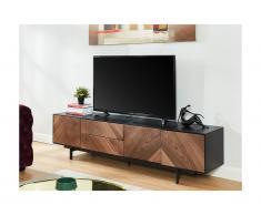Mobile TV con 3 ante e 2 cassetti in MDF Noce e Nero - ISMAEL