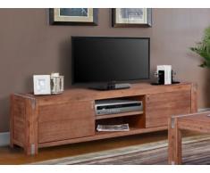 Mobile TV OAKLAND - 2 porte e 2 nicchie - Legno e metallo - Ciliegio