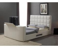 Letto PROFUSION con sistema TV integrato - 160 x 200 cm - Similpelle bianca