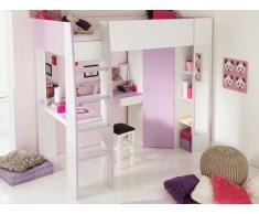 Letto a soppalco GEMMA - 90x200 cm - Con scrivania, vani portaoggetti e armadio integrati - Violetto e Bianco