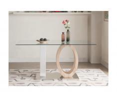Tavolo da pranzo in vetro temperato e MDF Quercia e Bianco - AYANE