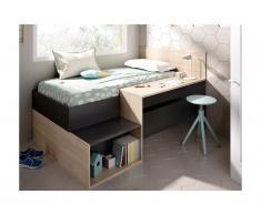 Letto con vani portaoggetti e una scrivania 90 x 190 cm Antracite e Rovere - LISON