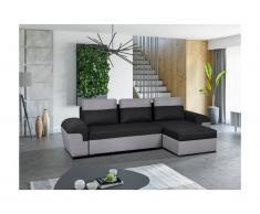 Divano-letto angolare reversibile in tessuto GABY - Bicolore nero e grigio chiaro
