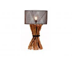 Lampada da tavolo BROCANTE in legno e metallo - H.81 cm