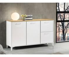 Credenza con 2 cassetti e 2 ante in MDF Colore: Bianco e quercia - SEATTLE