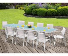 Sala da pranzo da giardino PALAOS - Tavolo allungabile, 10 sedie - Bianco