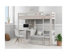 Letto a soppalco Scrivania, divano letto e vani portaoggetti 90 x 200 cm Abete massello Sbiancato - GOLIATH II