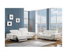 Divano relax 3 posti elettrico in pelle Bianco - PUNO