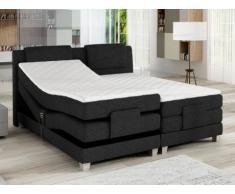 Set letto boxspring testata + reti relax elettriche + materasso + topper CASTEL di PALACIO - 2 x 80 x 200 cm - Tessuto antracite