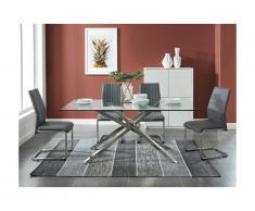 Set tavolo GLENDA + 4 sedie Trasparente e Antracite MAINE