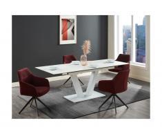 Tavolo da pranzo allungabile da 6 a 8 coperti in Ceramica e Metallo Bianco - NANOMA