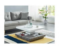Tavolino girevole in MDF laccato Bianco e cemento - FAUSTO II