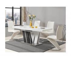 Set tavolo NOAMI + 4 sedie TWIZY Bianco e grigio