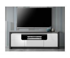 Mobile TV PERCEPTION - LED - 2 ante e 1 cassetto - Grigio e Bianco