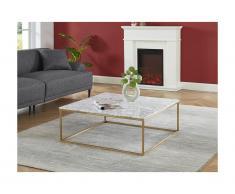 Tavolino di design in Marmo e Metallo Bianco e Dorato - ARETHA