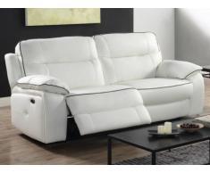 Divano relax elettrico 3 posti in pelle CATANE - Bianco e profilo grigio