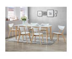 Set Sala da pranzo: tavolo + 6 sedie CARINE - Bianco