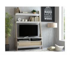 Mobile TV a scaffali 2 ante Bianco e Quercia - ESKALI