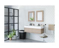 Mobili sospesi per bagno doppio lavabo e doppio specchio Rovere - VALENTINA