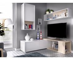 Parete TV modulare GAMBIE - con vani portaoggetti - Bianco e quercia