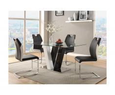 Set tavolo + 4 sedie WINCH - Colore nero e bianco
