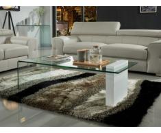 Tavolino MANDY - Vetro temperato e MDF laccato bianco